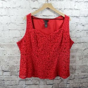 Lane Bryant Red Lace Sleeveless Top